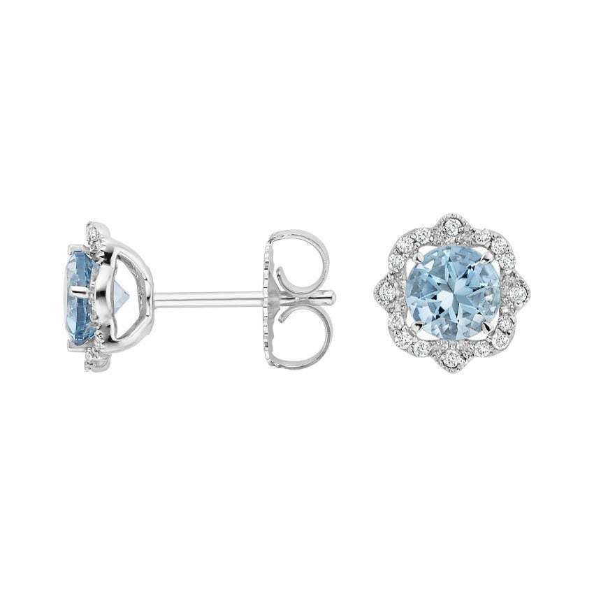 Reina Aquamarine and Diamond Earrings