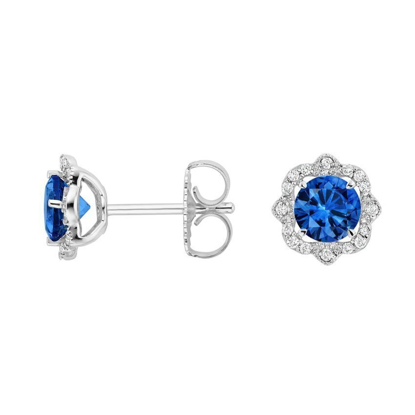 Reina Sapphire and Diamond Earrings