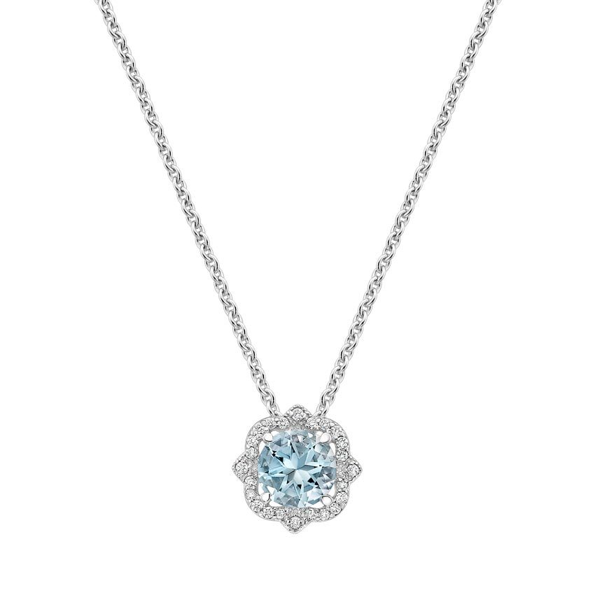 Reina Aquamarine and Diamond Pendant