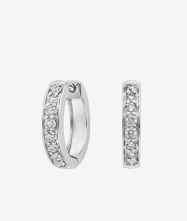 10 Year - Lustrous white gold diamond hoop earrings