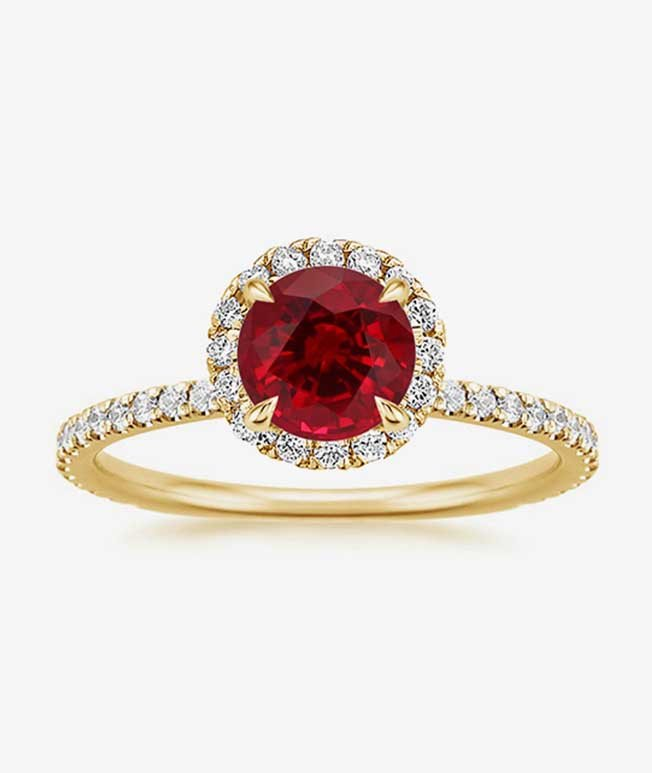 15 Year - Yellow gold diamond halo ring with ruby