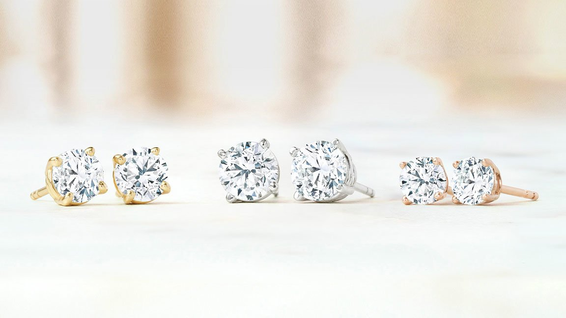 Diamond Stud earrings in yellow gold, white gold, and rose gold