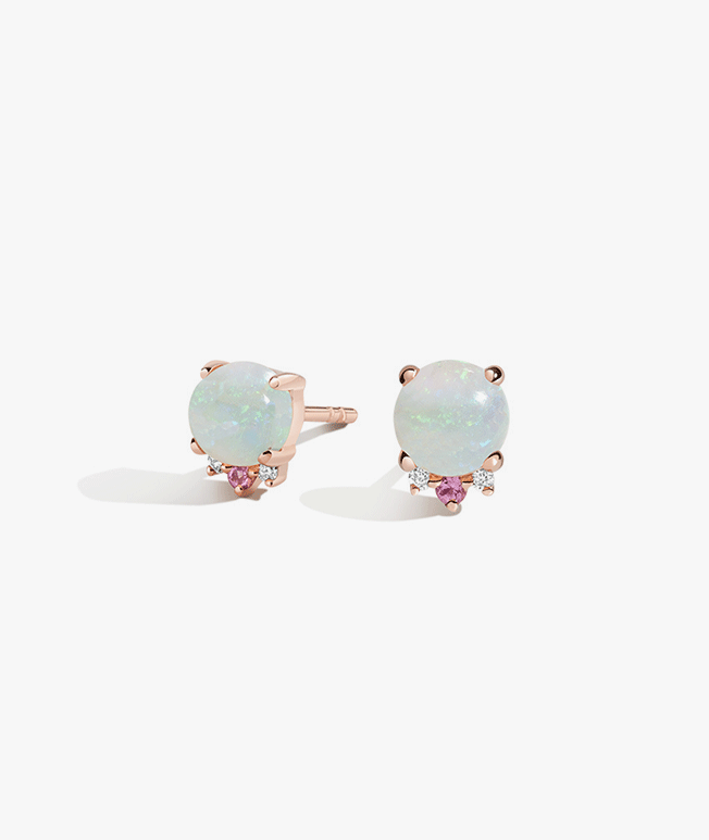 Rose gold opal earrings with diamond and pink sapphire accents