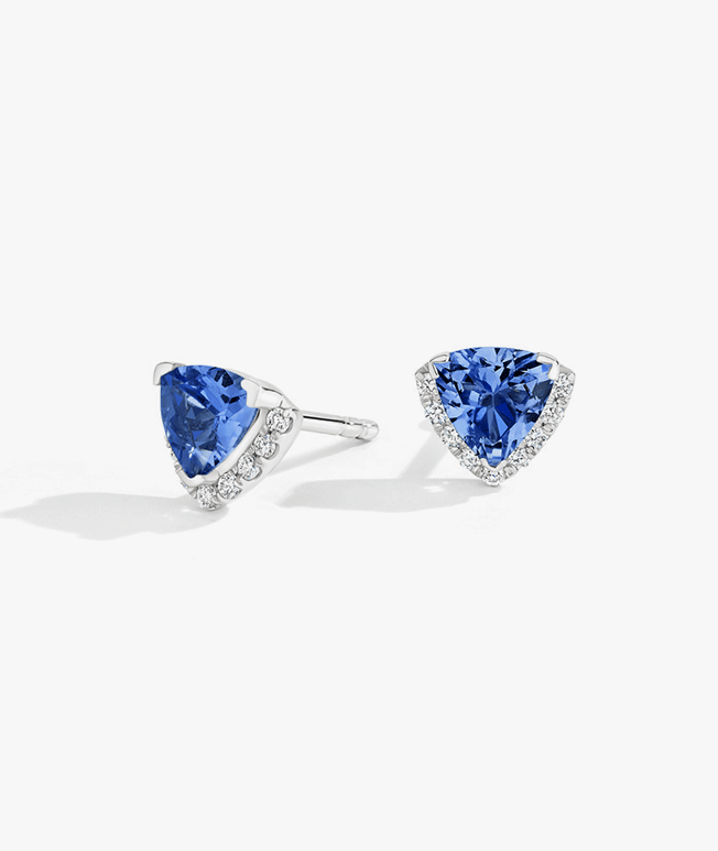 Uniquely shaped sapphire and diamond earrings